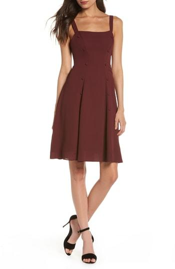 Women's Fame And Partners Sienne Fit & Flare Dress - Burgundy