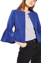 Women's Topshop Ruffle Crop Jacket Us (fits Like 0) - Blue