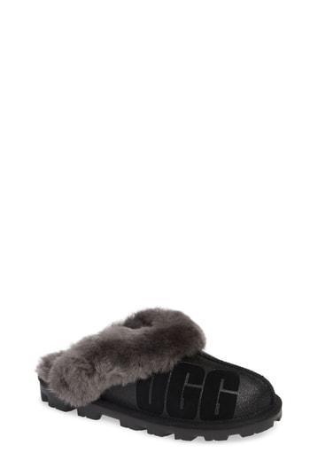 Women's Ugg Sparkle Genuine Shearling Slipper M - Black