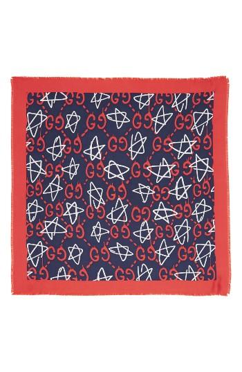 Women's Guccighost Stars Silk Square Scarf, Size - Red