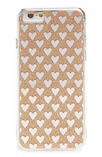 Ok Originals Transparent Glitter Heart Iphone 6/6s/7 Case - Metallic