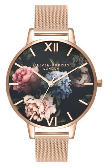 Women's Olivia Burton Dark Bouquet Mesh Bracelet Watch, 38mm
