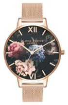 Women's Olivia Burton Dark Bouquet Mesh Bracelet Watch, 38mm