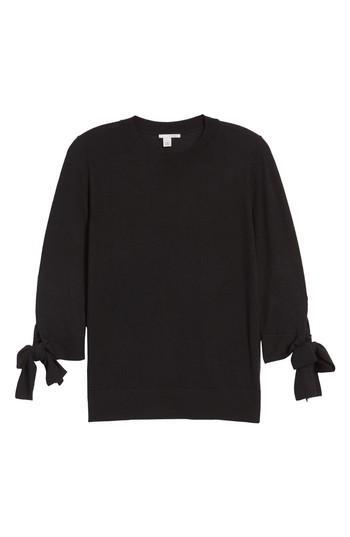 Petite Women's Halogen Tie Sleeve Crewneck Sweater P - Black