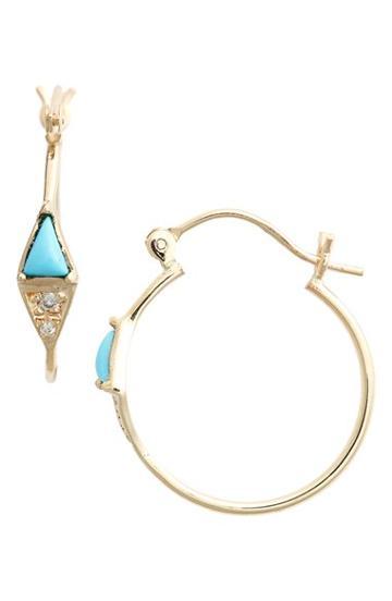 Women's Mociun Triangle Turquoise & Diamond Hoop Earrings