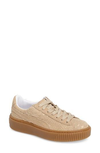 Women's Puma Exotic Skin Platform Sneaker .5 M - Beige