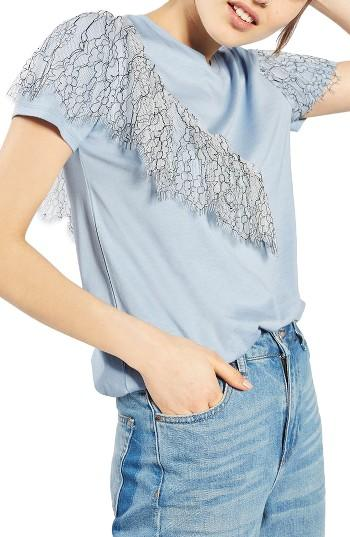 Women's Topshop Lace Ruffle Tee Us (fits Like 0) - Blue