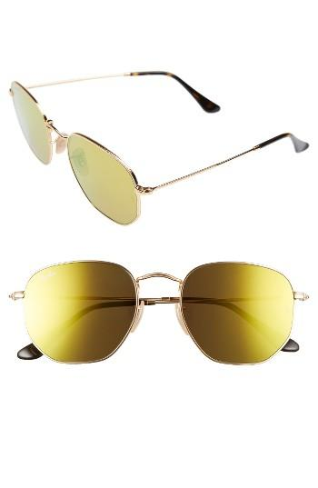 Women's Ray-ban 54mm Oval Aviator Sunglasses - Gold/ Brown