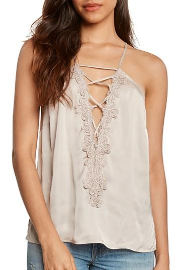 Women's Willow & Clay Lace-up Satin Camisole - Ivory