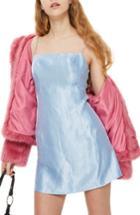 Women's Topshop Crinkled Satin Slipdress Us (fits Like 0) - Blue