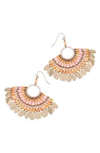 Women's Nakamol Design Stone Beaded Fan Earrings