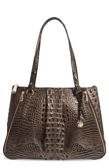 Brahmin Melbourne - Adina Croc Embossed Leather Satchel - Grey