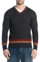 Men's Eleventy Cableknit Cashmere V-neck Sweater - Grey