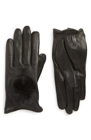 Women's Nordstrom Faux Fur Pompom Lambskin Leather Gloves - Black