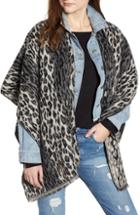 Women's David & Young Leopard Print Shawl, Size - Grey