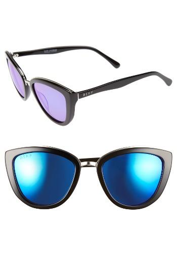 Women's Diff Rose 56mm Cat Eye Sunglasses - Black/ Blue