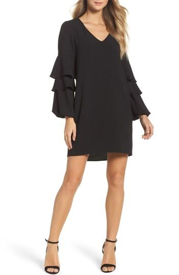 Petite Women's Charles Henry Tiered Ruffle Sleeve Dress P - Black