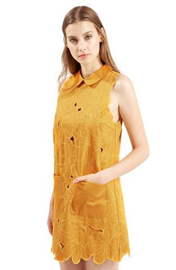 Women's Topshop Floral Cutwork Shift Dress, Size 12 (14 Us) - Yellow