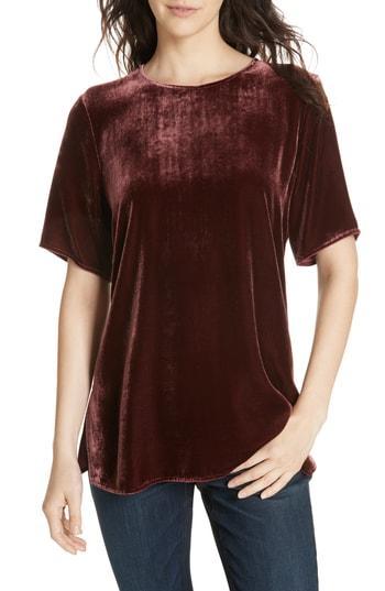 Women's Eileen Fisher Boxy Velvet Top, Size - Red