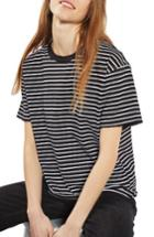 Women's Topshop Stripe Boxy Tee Us (fits Like 0) - Black