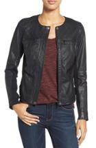 Women's Caslon Collarless Leather Jacket