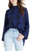 Women's Madewell Plaid Mock Neck Cross Back Shirt, Size - Blue