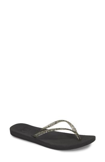Women's Reef Lux Shimmer Flip Flop M - Black
