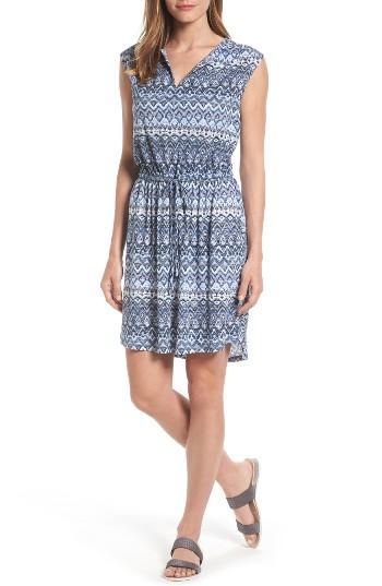 Petite Women's Caslon Split Neck Cotton & Modal Knit Blouson Dress, Size P - Blue
