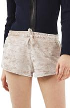 Women's Topshop Crushed Velvet Shorts Us (fits Like 0) - Beige
