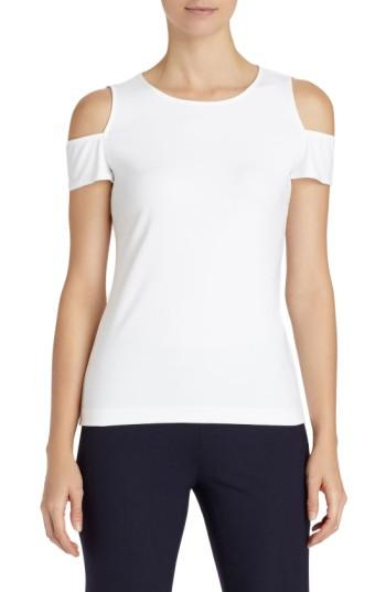 Women's Lafayette 148 New York Cold Shoulder Top, Size - White