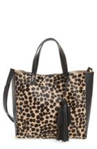 Frances Valentine Genuine Calf Hair & Leather Convertible Tote - Black