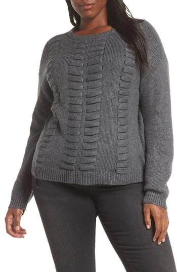 Petite Women's Vince Camtuo Lace Through Detail Cotton Blend Sweater P - Grey