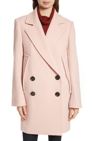 Women's Theory Wool Boucle Coat - Pink