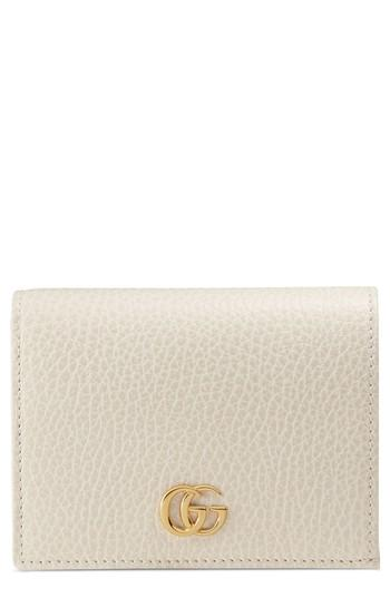 Women's Gucci Marmont Leather Card Case - White