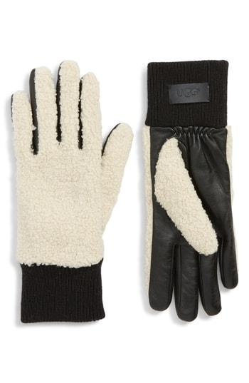 Women's Ugg Faux Shearling Touchscreen Compatible Gloves - Brown