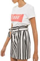 Women's Topshop Stripe Paperbag Skirt Us (fits Like 0) - White