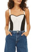 Women's Topshop Corset Colorblock Bodysuit Us (fits Like 0) - White