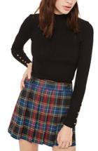 Women's Topshop Button Cuff Sweater Us (fits Like 0) - Black