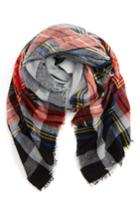 Women's David & Young Contrast Plaid Square Scarf