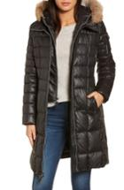 Women's Andrew Marc Quilted Coat With Genuine Coyote Fur - Black