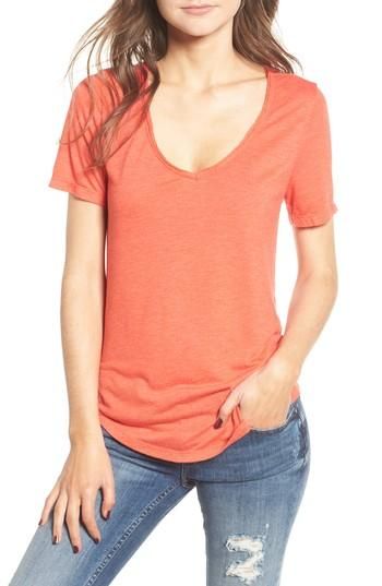 Women's Bp. Raw Edge V-neck Tee, Size - Red