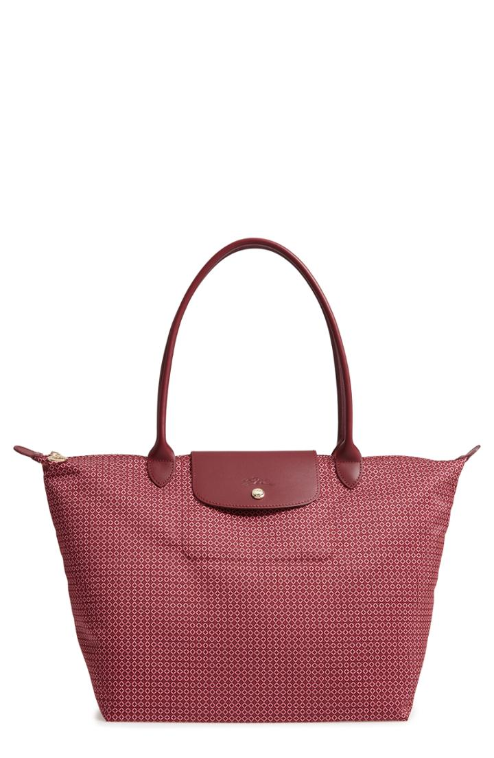 Longchamp Large Le Pliage Dandy Print Top Handle Tote - Red