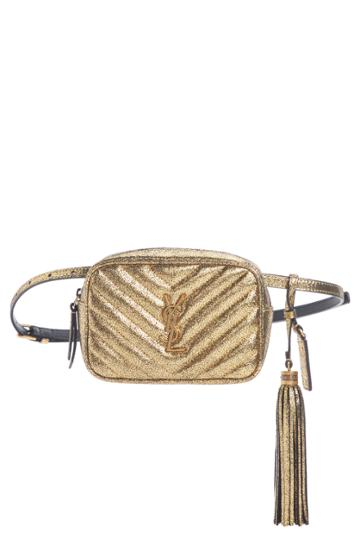 Saint Laurent Lou Lou Metallic Leather Belt Bag With Tassel - Metallic