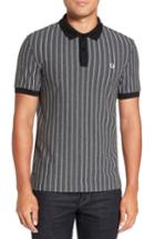 Men's Fred Perry Pinstripe Pique Polo, Size - Grey
