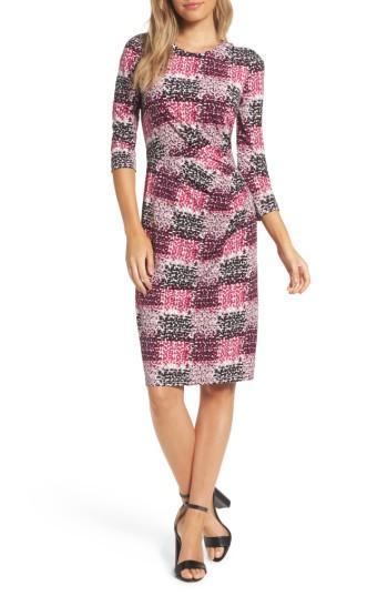 Petite Women's Eliza J Jersey Sheath Dress P - Pink
