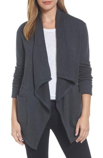 Petite Women's Caslon Asymmetrical Drape Collar Terry Jacket, Size P - Grey