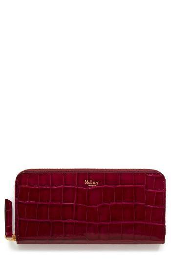 Women's Mulberry Zip Around Leather Wallet - Burgundy