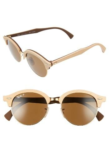 Women's Ray-ban 51mm Polarized Round Sunglasses - Gold/ Brown