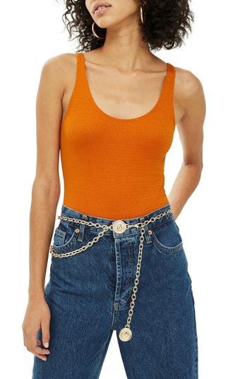 Women's Topshop Textured Scoop Neck Bodysuit Us (fits Like 0) - Orange