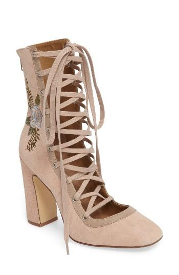 Women's Chinese Laundry Sylvia Lace-up Bootie M - Beige